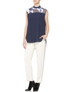 3.1 Phillip Lim Embellished-Yoke Top & Tuxedo Pants with Stripe