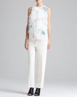 3.1 Phillip Lim Sleeveless Feather Tank & Tuxedo Pants with Stripe