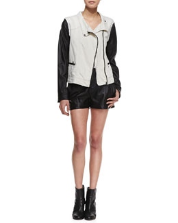 rag & bone/JEAN Twill and Leather Moto Jacket and Elm Pleated Leather Shorts