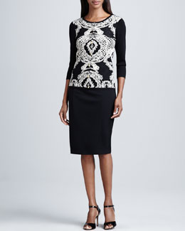 Carmen by Carmen Marc Valvo Birdseye Jacquard Crewneck Cardigan & Faux-Leather Banded Pencil Skirt