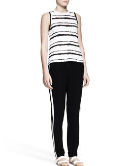 A.L.C. Striped Muscle Tank and Pull-On Track Pants