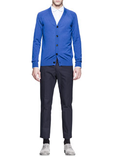 Maison Martin Margiela Cashmere Raglan-Sleeve Cardigan, Double-Collar Dress Shirt & Slim-Fit Trousers