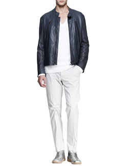 Maison Martin Margiela Leather Motorcycle Jacket, Long-Sleeve V-Neck Sweater & Slim-Fit Trousers
