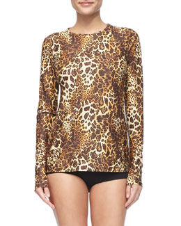 Cover Perfect Leopard T-Shirt Cover Up & Hipster Swim Bottom