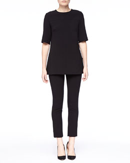 Lela Rose Short-Sleeve Tunic & Cropped Catharine Pants