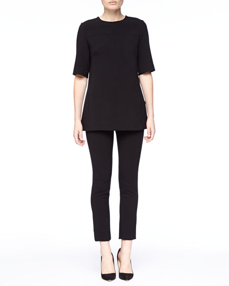 Lela Rose Short-Sleeve Tunic, Black