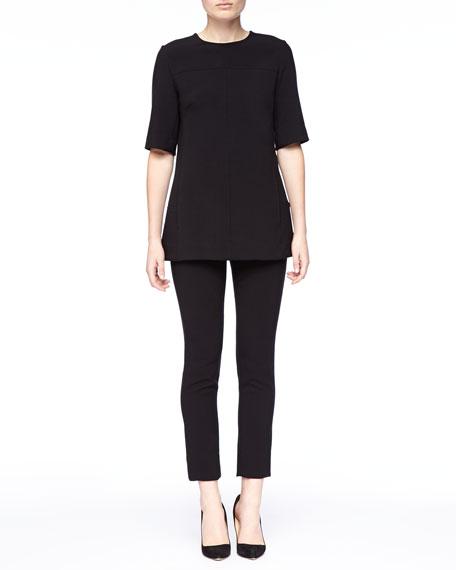 Lela Rose Short-Sleeve Tunic, Black