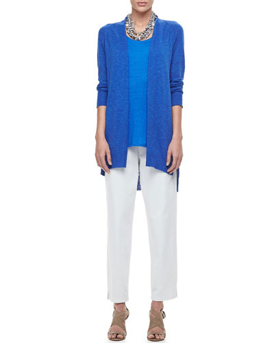 Eileen Fisher High-Low Slub Cardigan, Long Organic Linen-Jersey Tank, Organic Stretch Twill Slim Ankle Pants, Petite