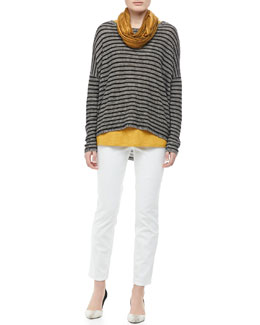 Eileen Fisher Striped Boxy Top, Jersey Scoop-Neck Tank, Shibori Scarf & Skinny Ankle Jeans, Petite