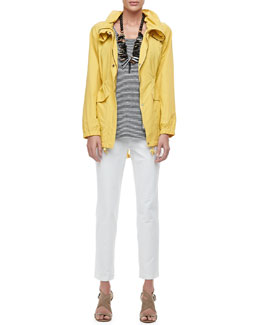 Eileen Fisher Weather-Resistant Coat, Linen Jersey Striped Tank & Washable Crepe Slim Ankle Pants, Petite