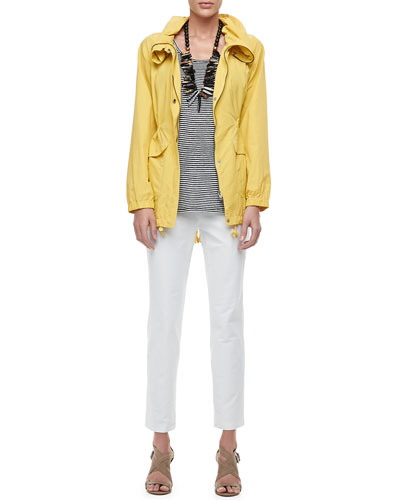 Eileen Fisher Weather-Resistant Coat, Linen Jersey Striped Tank & Washable Crepe Slim Ankle Pants, Women's