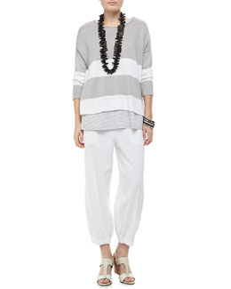 Eileen Fisher Wide-Striped Sweater Top, Jersey Striped Tank & Drawstring-Waist Slouchy Capri Pants, Petite