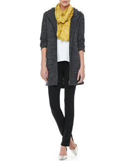 Eileen Fisher Terrazzo Hooded Jacket, Cotton Tee, Shadow-Tinted Modal Scarf & French Terry Skinny Pants