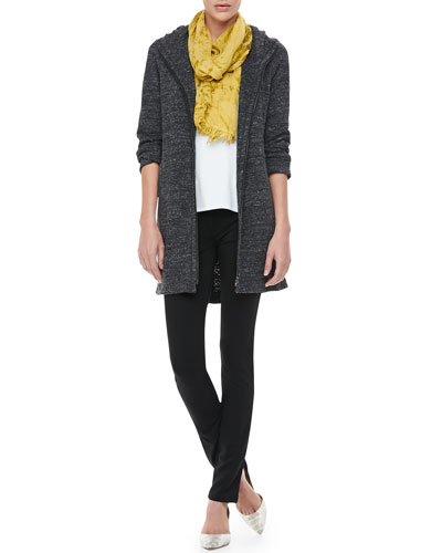 Eileen Fisher Terrazzo Hooded Jacket, Cotton Tee, Shadow-Tinted Modal Scarf & French Terry Skinny Pants, Women's