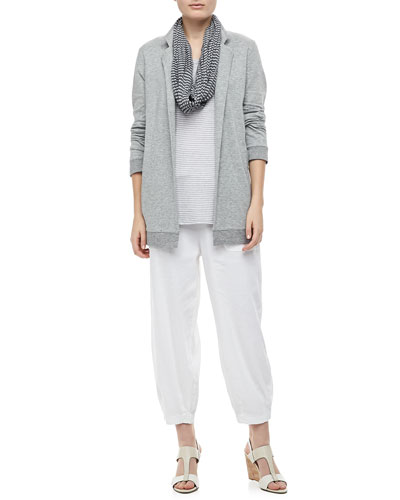 Eileen Fisher Organic Cozy Striped Long Jacket, Crinkled Ramie Zigzag Infinity Scarf, Organic Linen Jersey Striped Tank & Drawstring-Waist Slouchy Capri Pants, Petite