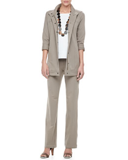Eileen Fisher Organic Long Drawstring Jersey Jacket, 3/4-Sleeve Cotton Tee & Organic Jogging Suit Pants