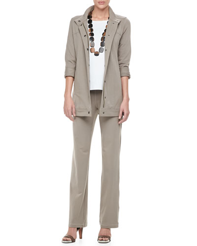 Eileen Fisher Organic Long Drawstring Jersey Jacket, 3/4-Sleeve Cotton Tee & Organic Jogging Suit Pants, Petite