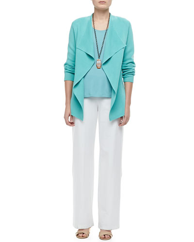 Eileen Fisher Silk-Cotton Interlock Jacket, Stretch Silk Jersey Tank & Modern Wide-Leg Pants, Petite