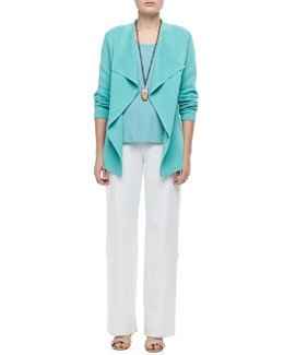 Eileen Fisher Silk-Cotton Interlock Jacket, Stretch Silk Jersey Tank & Modern Wide-Leg Pants, Women's