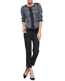 Lafayette 148 New York Two-Tone Printed Paulina Jacket, Short-Sleeve Pleated Top & Metro Stretch Bleecker Pants