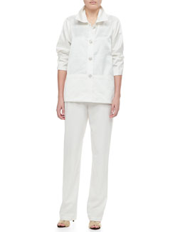 Caroline Rose Shantung Placket Shirt & Straight Leg Pants