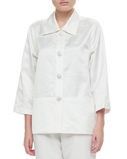 Caroline Rose Shantung Placket Shirt & Straight Leg Pants, Petite