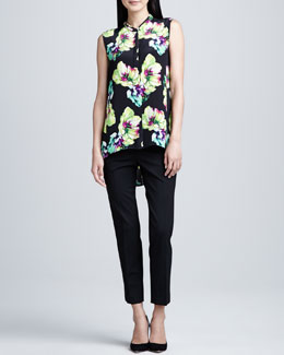 Lafayette 148 New York Sari Floral-Print Silk Blouse & Stanton Straight-Leg Ankle Pants