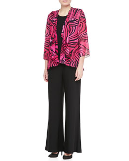 Caroline Rose Groovy Swirl Drape Jacket/Stretch Knit Long Tank & Stretch Knit Wide Pants, Petite