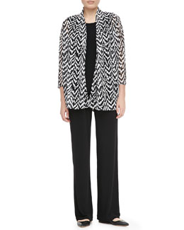 Caroline Rose Stretch Knit Long Tank/Zigzag Cardigan & Stretch Straight Leg Pants