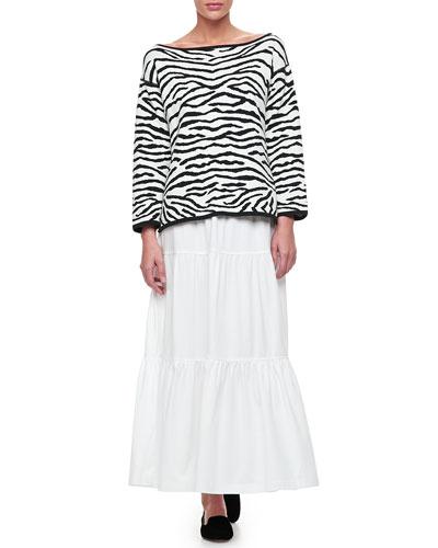 Joan Vass Reversible Animal Print Pullover Sweater & Tiered Long Skirt