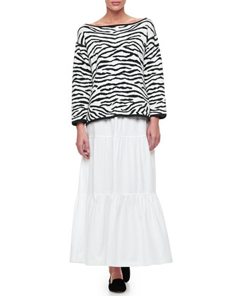 Reversible Animal Print Pullover Sweater & Tiered Long Skirt