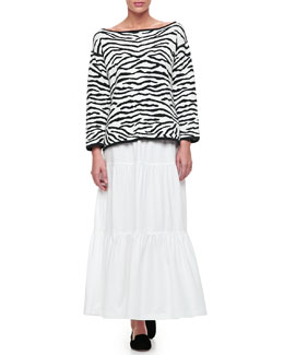 Joan Vass Reversible Animal Print Pullover Sweater & Tiered Long Skirt, Petite
