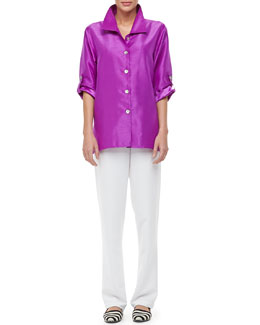 Caroline Rose Shantung Tab Shirt & Poly Shantung Pants, Petite
