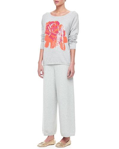 Joan Vass Sequin Dolman Sleeve Sweater & Wide Leg Pants