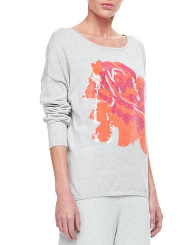Joan Vass Sequin Dolman Sleeve Sweater & Wide Leg Pants, Women's