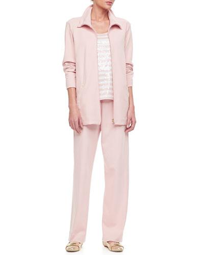 Joan Vass Long Sleeve Jog Jacket, Sequin Stripe Tank & Cotton Interlock Pants, Petite