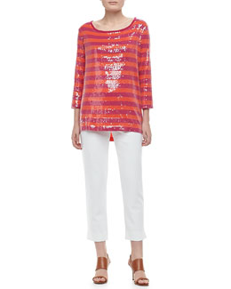 Joan Vass 3/4-Sleeve Striped Tunic & Ponte Ankle Pants, Petite