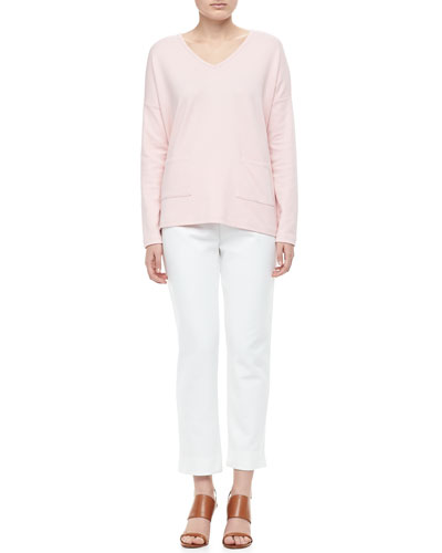 Joan Vass 2-Pocket Boxy Top & Ponte Ankle Pants, Petite