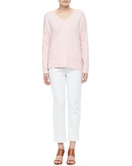 Joan Vass 2-Pocket Boxy Top & Ponte Ankle Pants, Women's