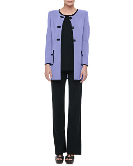 Misook Marcela Long Button-Front Jacket, Solid Crewneck Tank & Boot-Cut Pants