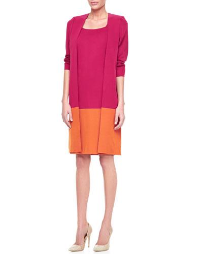 Misook Long Colorblock Jacket & Colorblock Sleeveless Dress