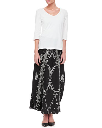 3/4-Sleeve V-Neck Tee & Hadley Maxi Skirt