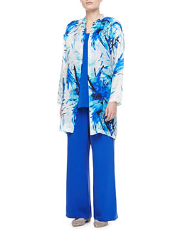 Go Silk Printed Silk Duster, Longer Silk Crepe Tank & Silk Pants