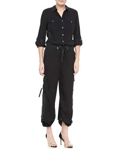 Go Silk Silk Safari Shirt & Silk Cargo Pants, Petite