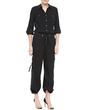 Silk Safari Shirt & Silk Cargo Pants, Petite