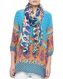 Tolani Chandra Long Print Tunic & Montego Scarf, Women's