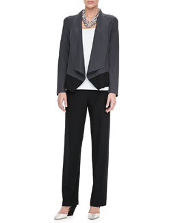 Eileen Fisher Drape-Front Colorblock Jacket, Organic Cotton Slim Tank & Washable-Crepe Straight-Leg Pants, Petite