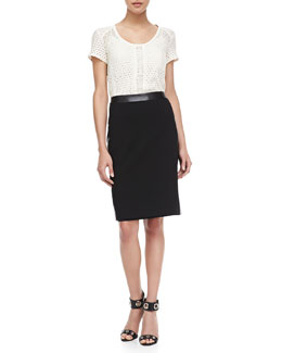 Nanette Lepore Bow & Arrow See-Through Top & Thunder Leather-Trim Skirt