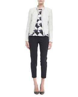 Theyskens' Theory Fassica Plove Pants & Irock Brib Short Sleeve Blouse & Netch Striped Jylan Jacket