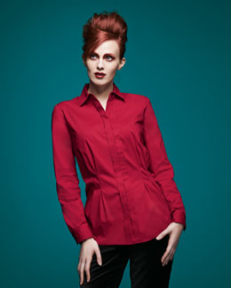 Go Silk Peplum Pleated Stretch Shirt